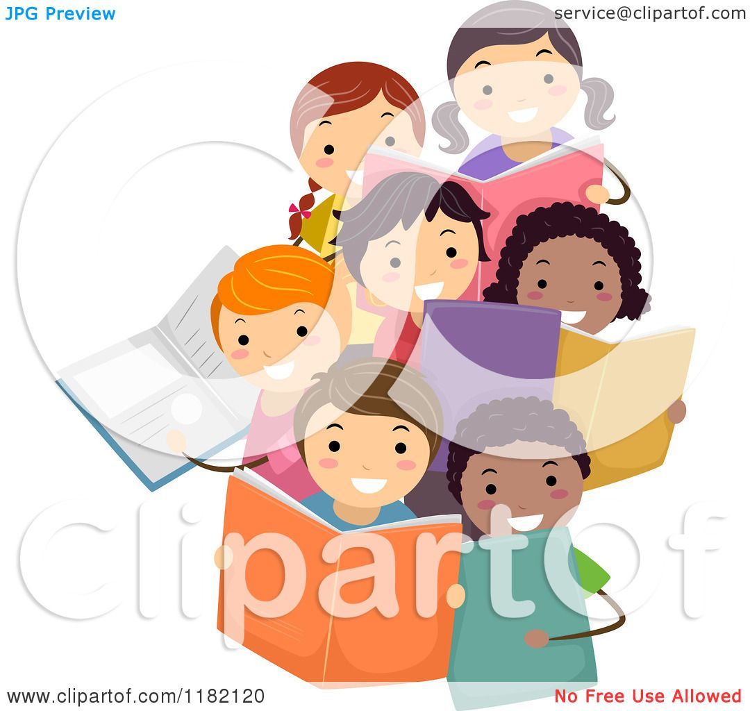 Cartoon of a Group of Diverse Children Holding Books ...