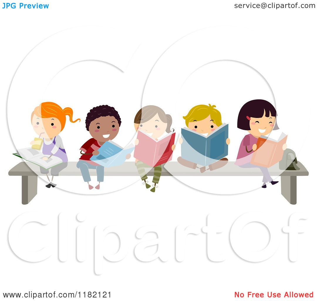 Cartoon of a Group of Happy Diverse Children Reading Books ...