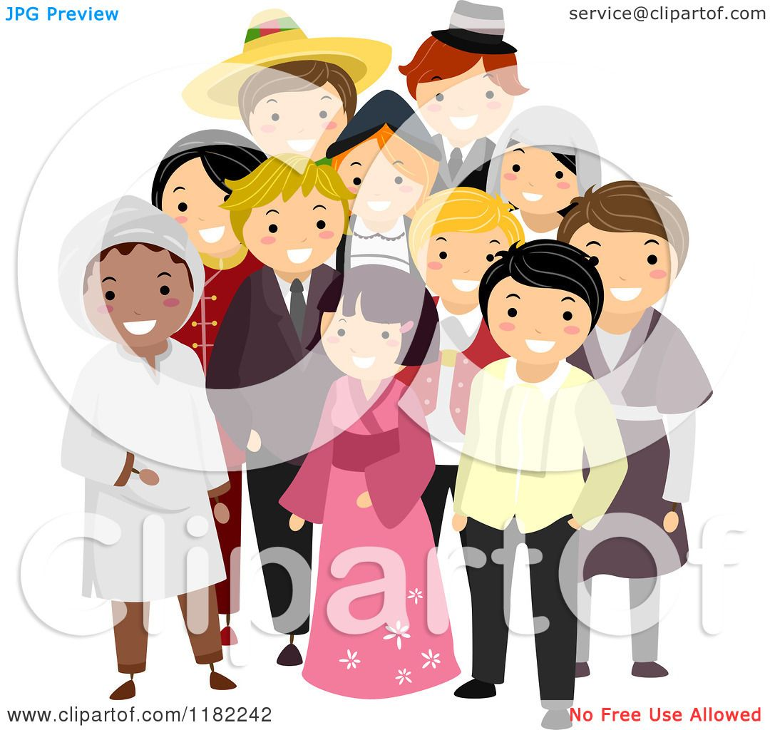 Cartoon Of A Group Multi Cultural People In Their