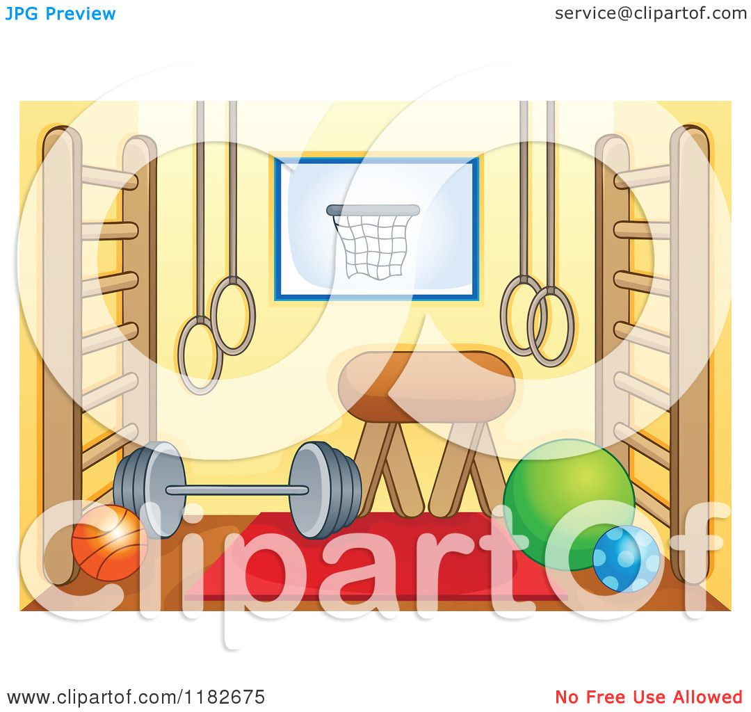 Cartoon of a gym room with equipment royalty free vector