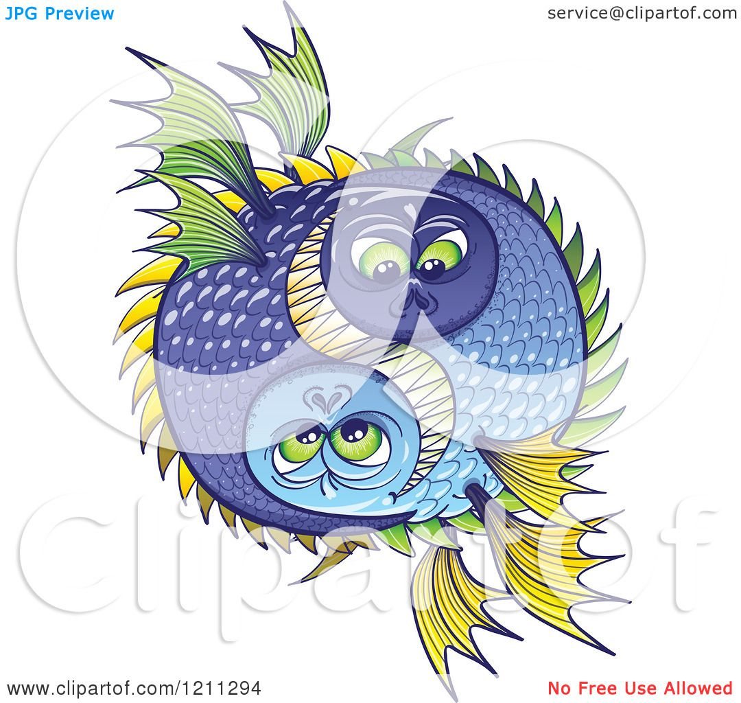 Cartoon Of A Halloween Or Pisces Fish Yin And Yang