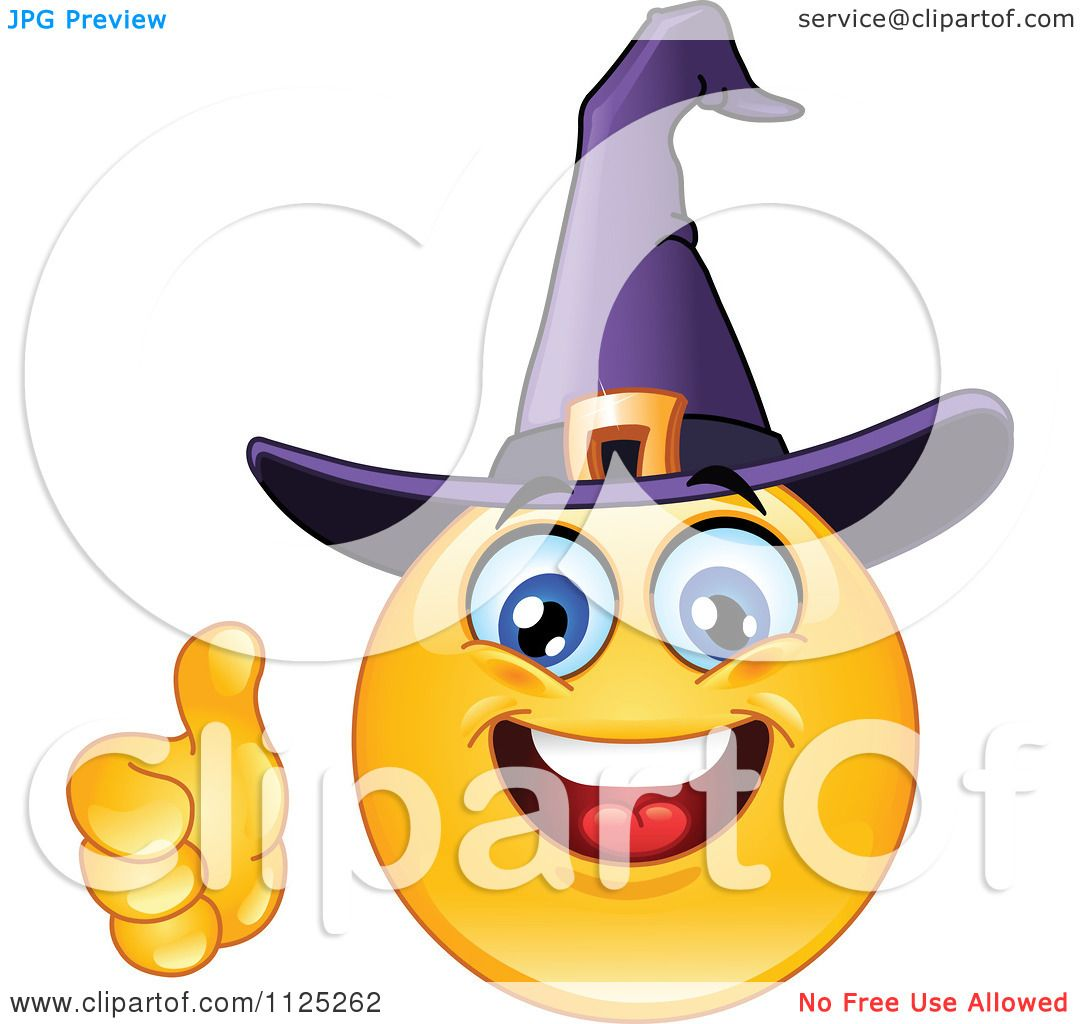 Halloween Cartoon Witch Face.Cartoon Of A Halloween Witch Emoticon Face Holding A Thumb Up