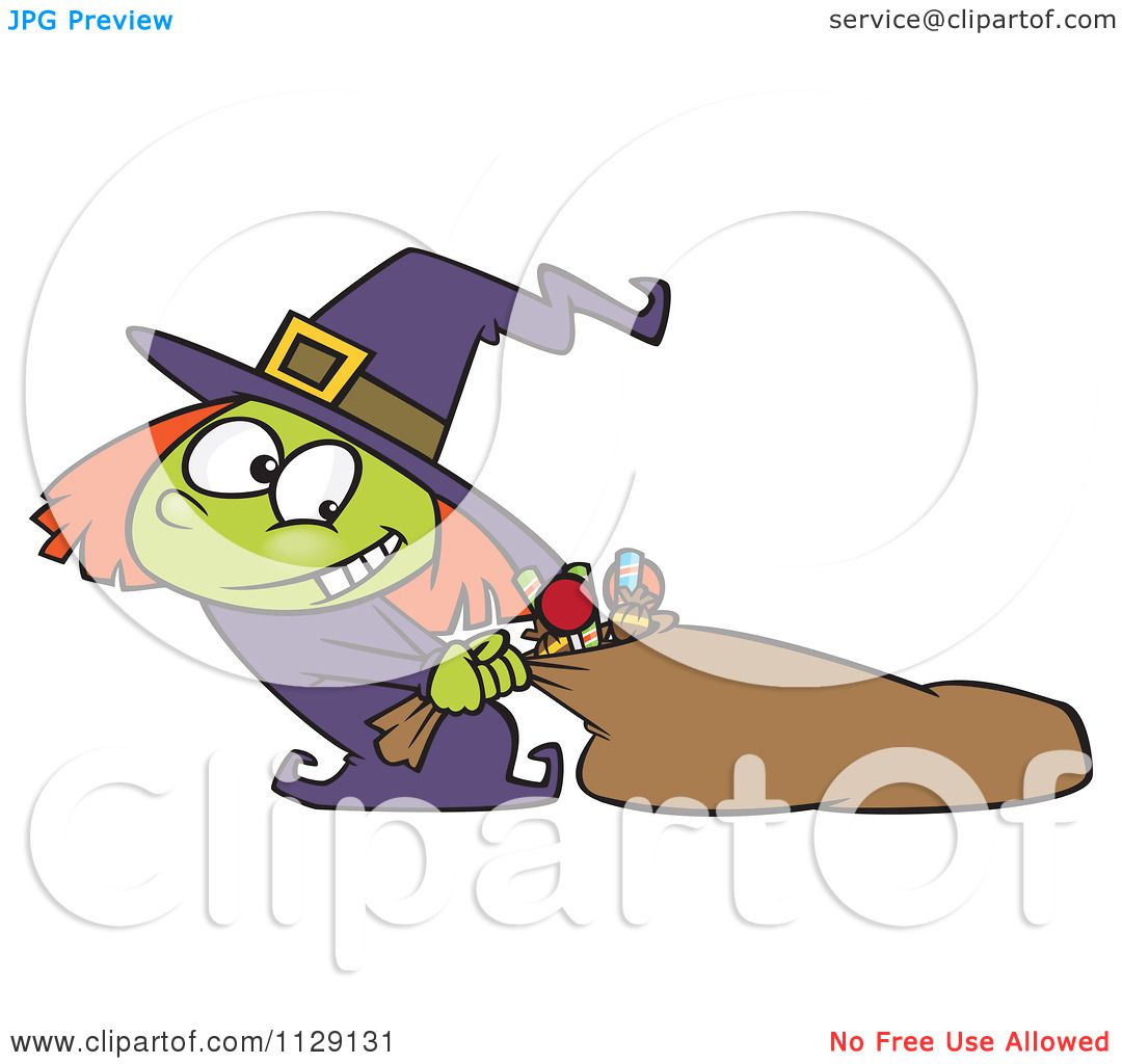 Cartoon Of A Halloween Witch Girl Hauling Her Candy Sack Royalty