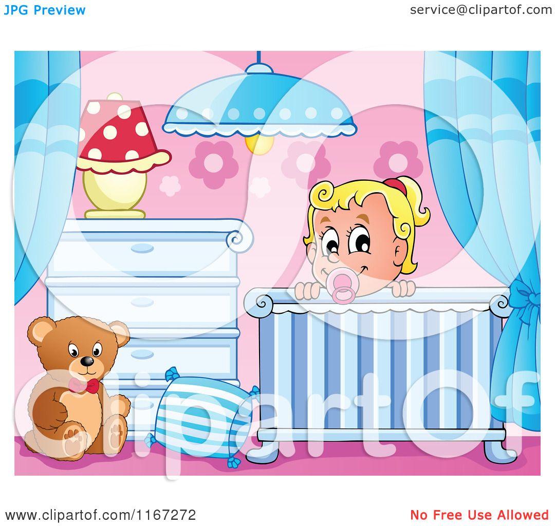 Crib Cartoon Cartoon of a happy baby girl Baby Stroller Cartoon