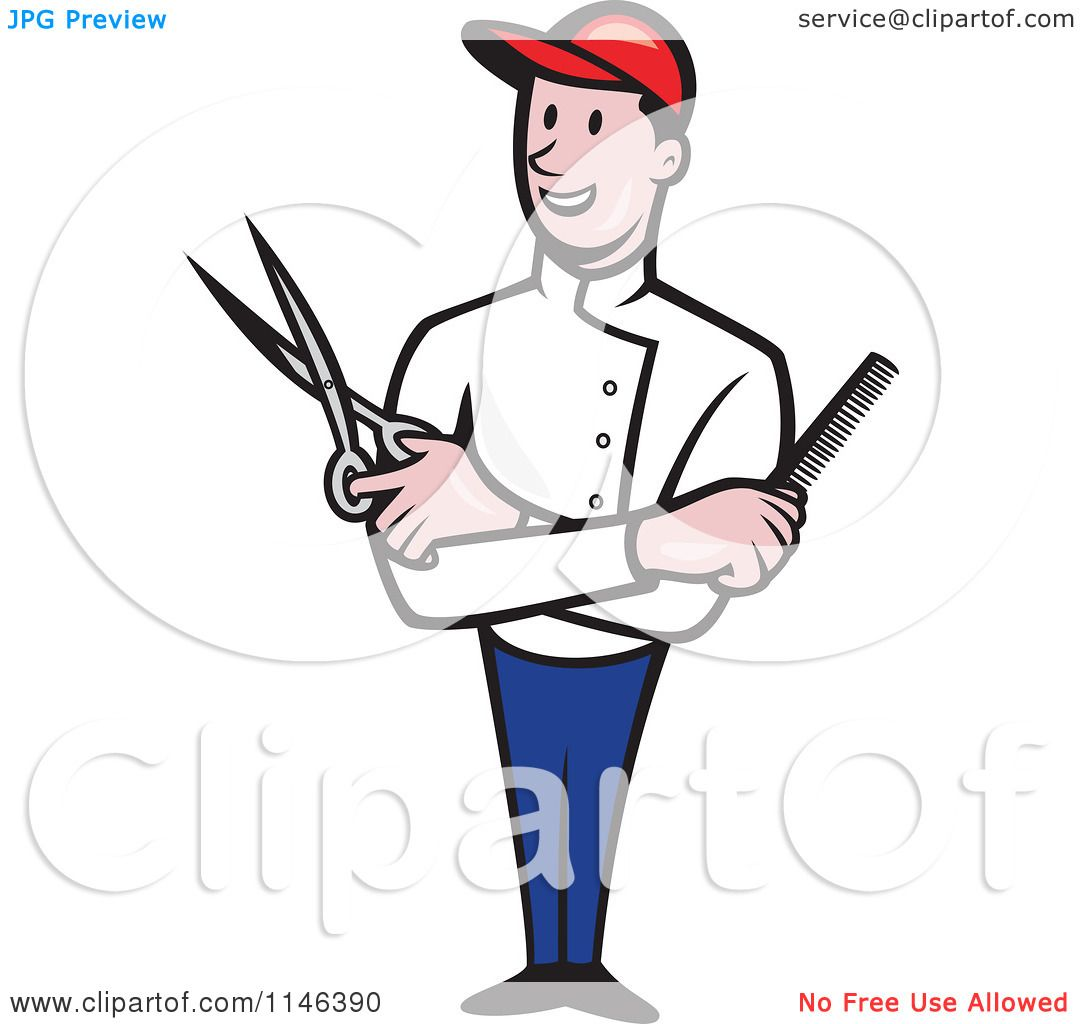 Cartoon Of A Happy Barber With Crossed Arms And A Comb And