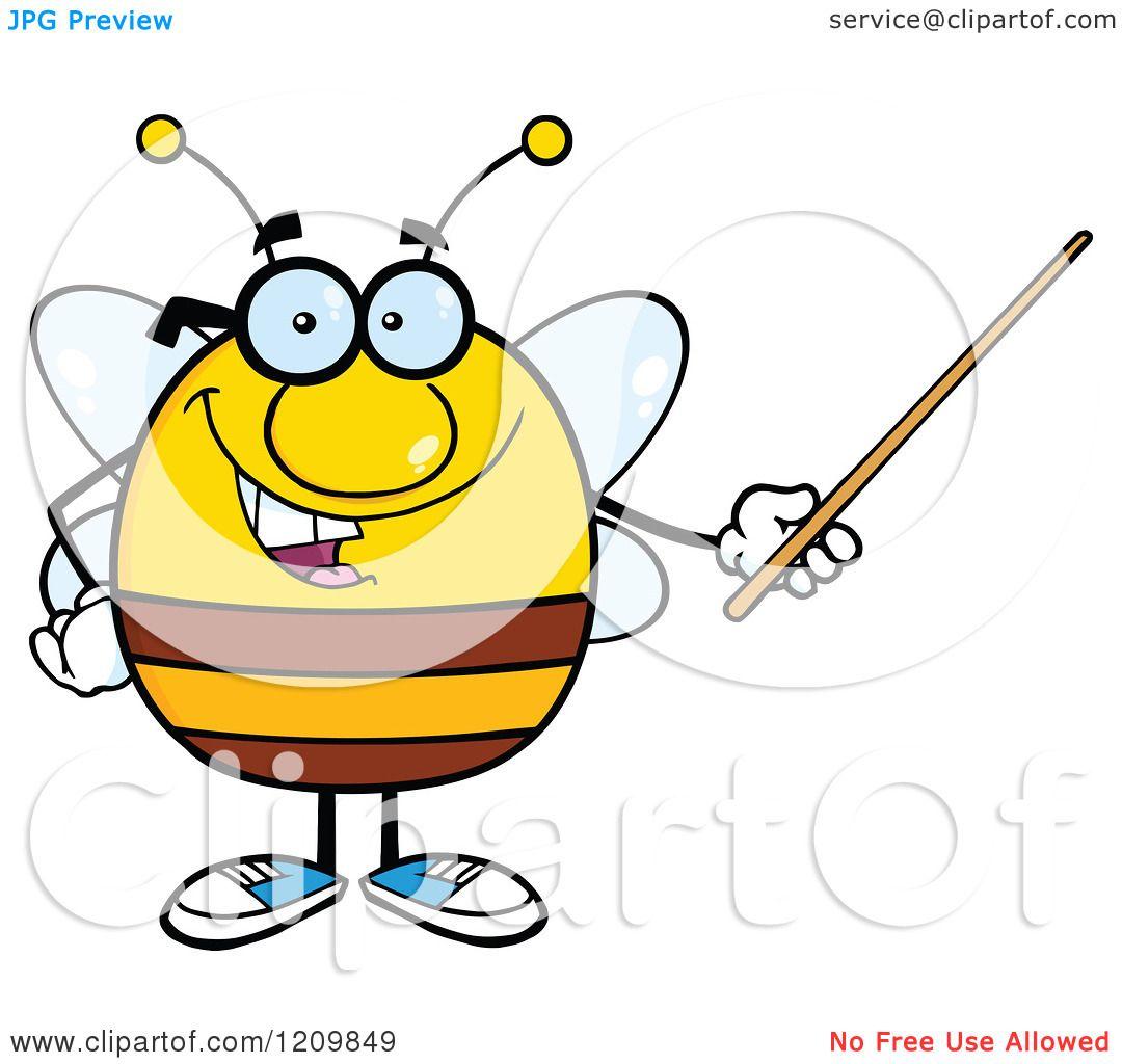 cartoon of a happy bee teacher using a pointer stick royalty free rh clipartof com