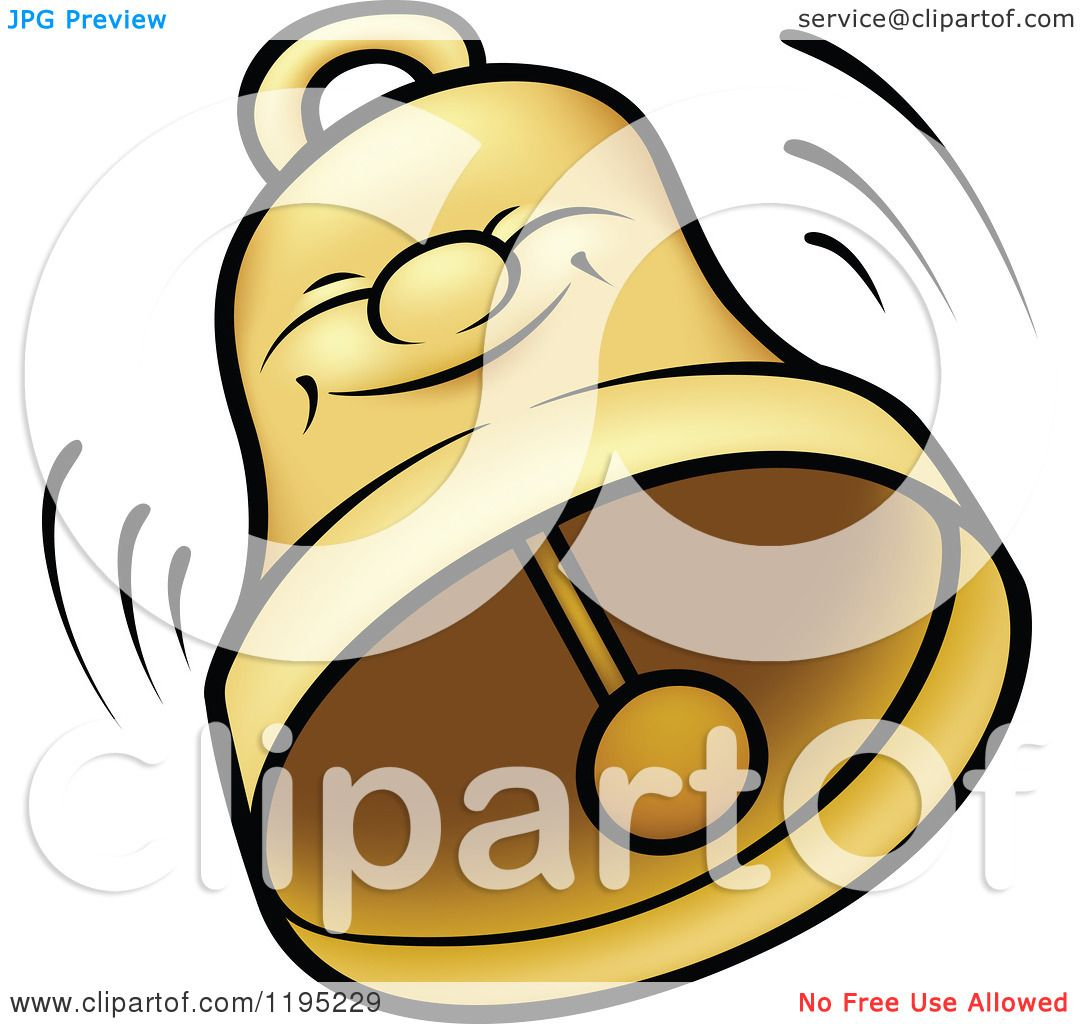 Cartoon Of A Happy Bell Ringing Royalty Free Vector