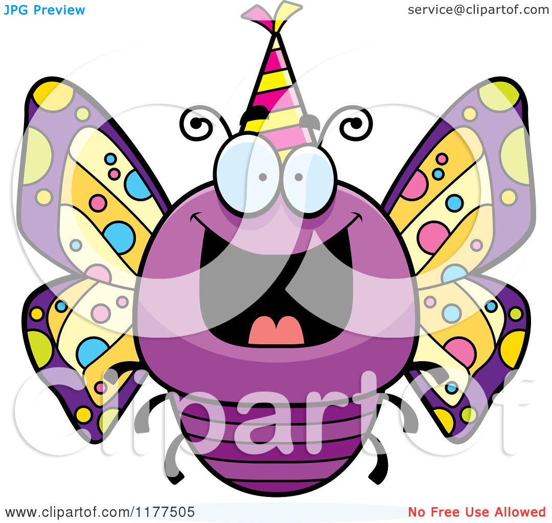 Cartoon of a Happy Birthday Butterfly Wearing a Party Hat ...