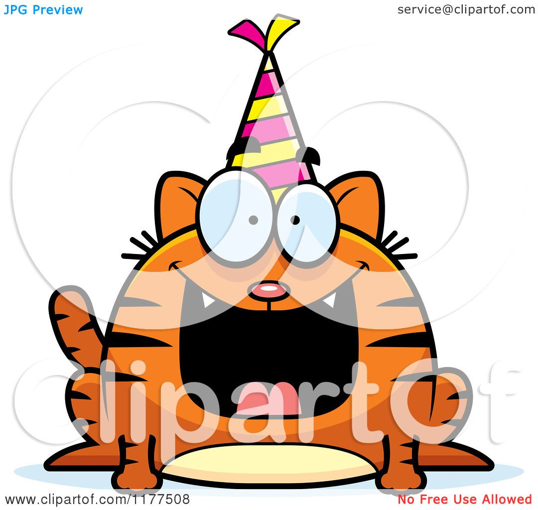 Cartoon Of A Happy Birthday Cat Wearing A Party Hat