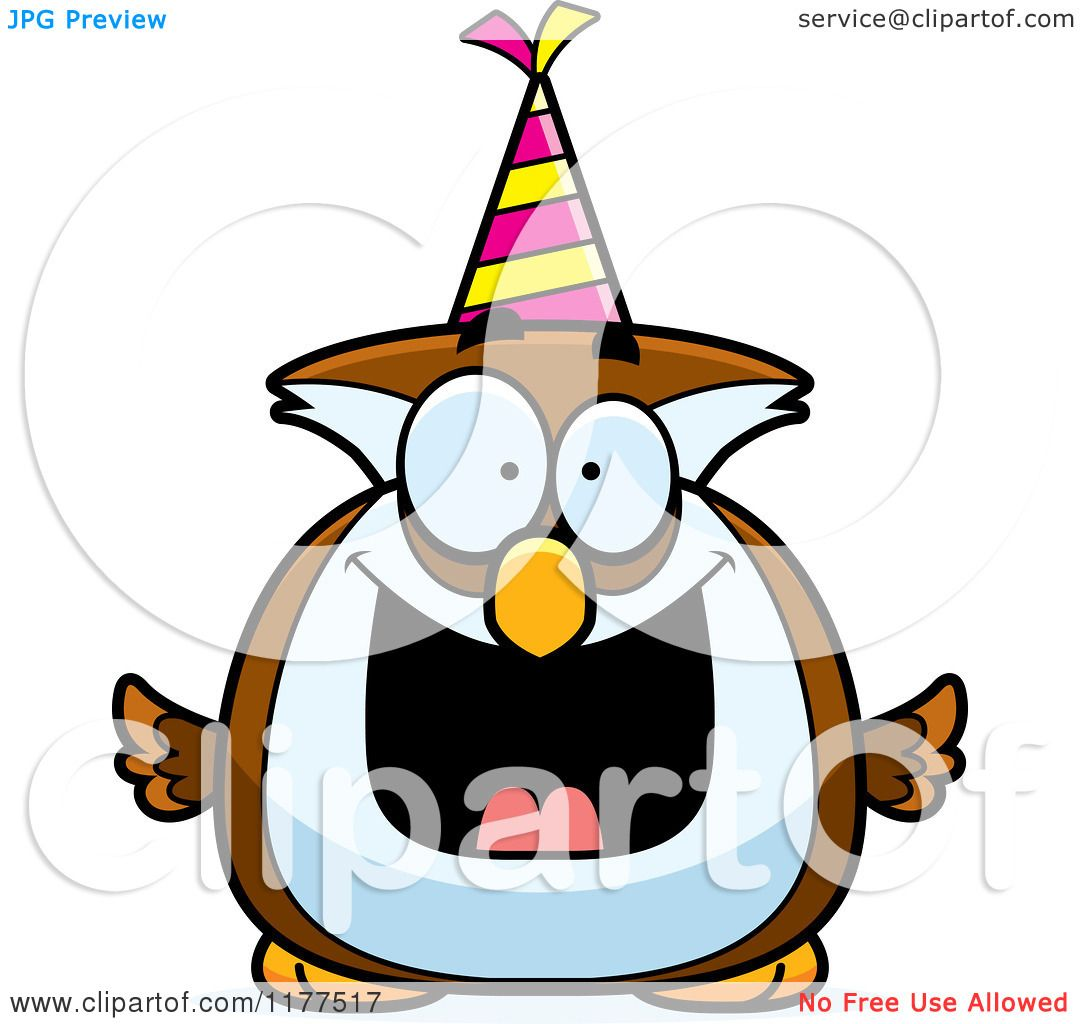 Cartoon of a Happy Birthday Owl Wearing a Party Hat ...