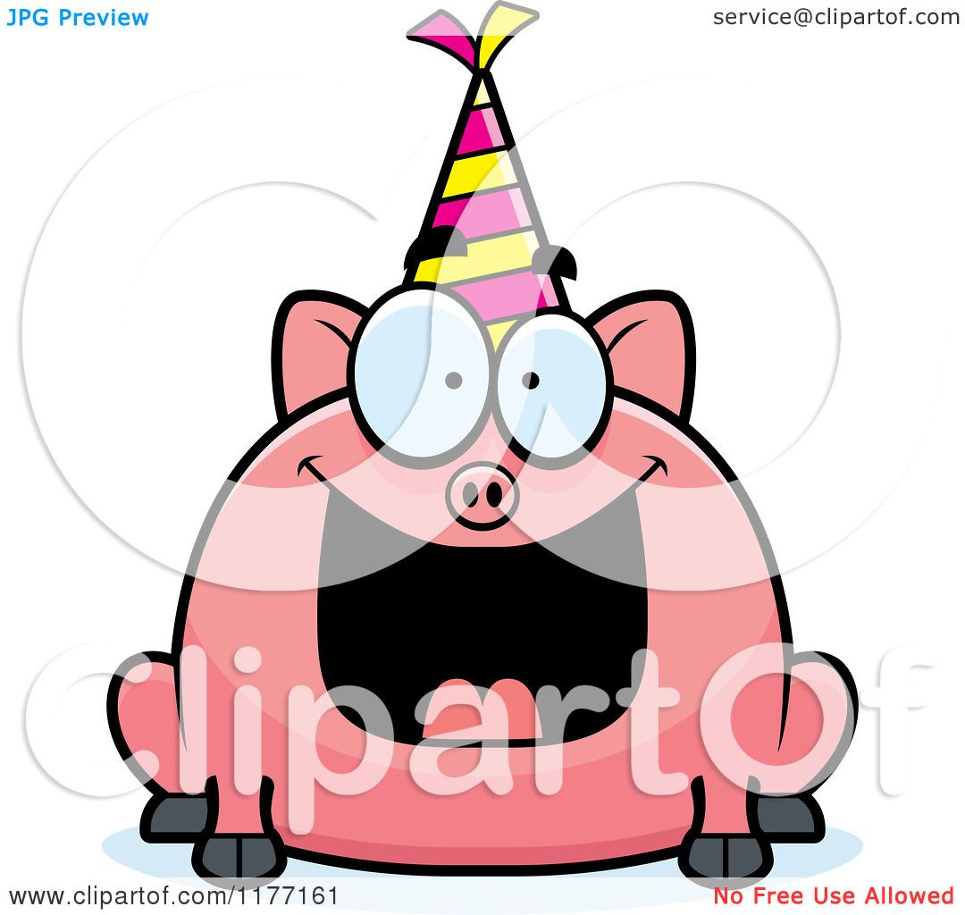 cartoon of a happy birthday pig wearing a party hat royalty free