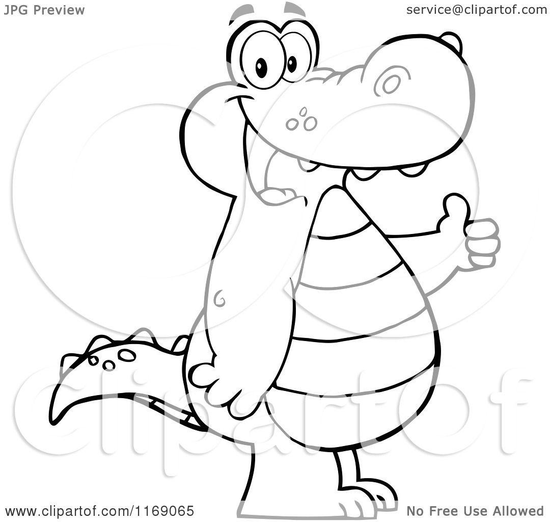 cartoon of a happy black and white alligator holding a thumb up royalty free vector clipart by hit toon 1169065 royalty free vector clipart by hit toon