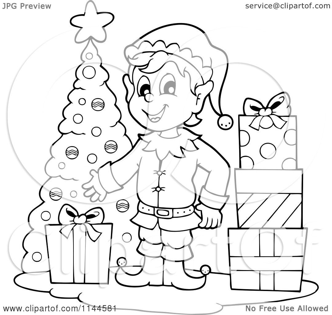 Cartoon of a Happy Black and White Male Christmas Elf by a Tree with Gifts - Royalty Free Vector ...