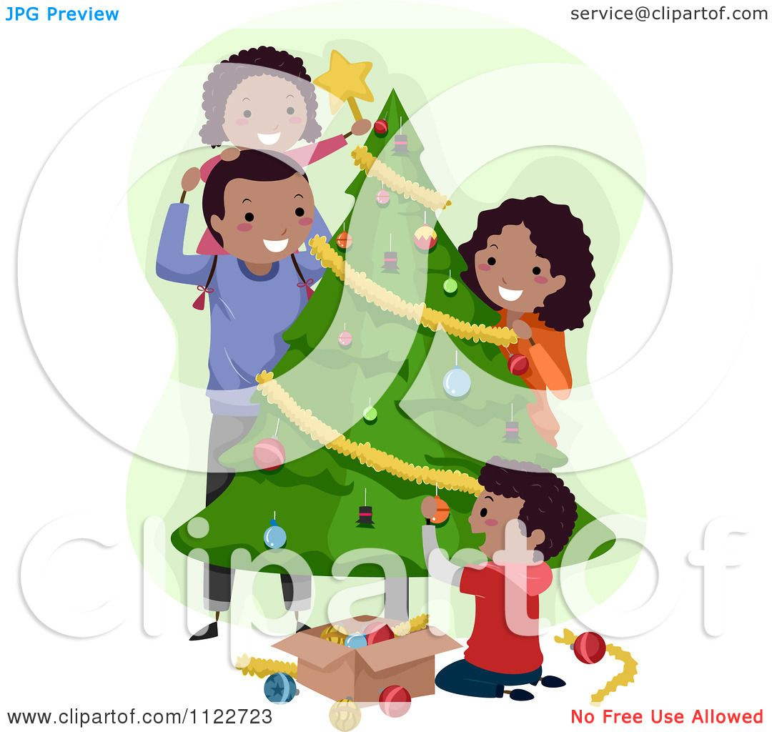 Cartoon Of A Happy Black Family Decorating A Christmas ...