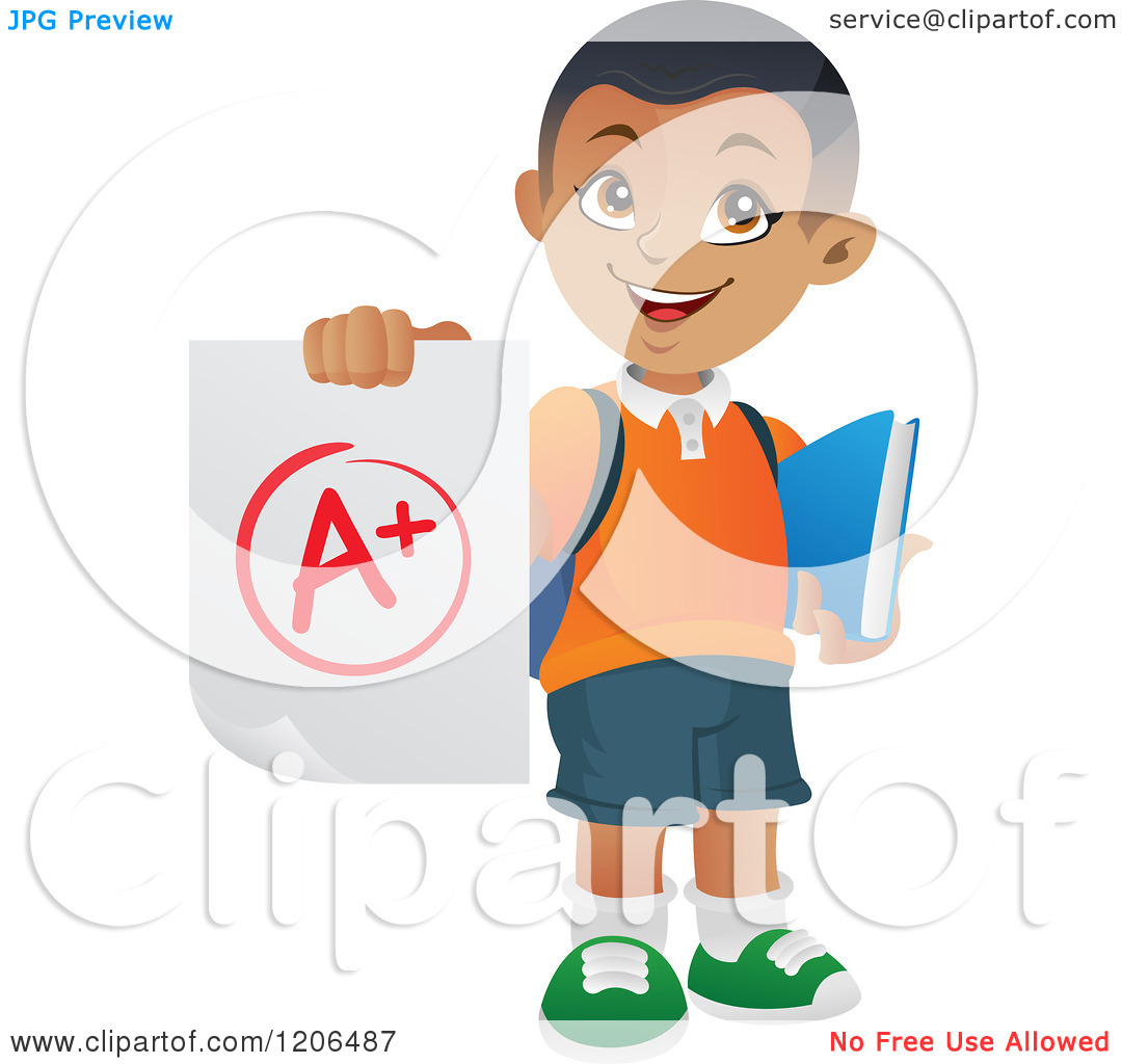 Cartoon of a Happy Black or Hispanic School Boy Holding ...