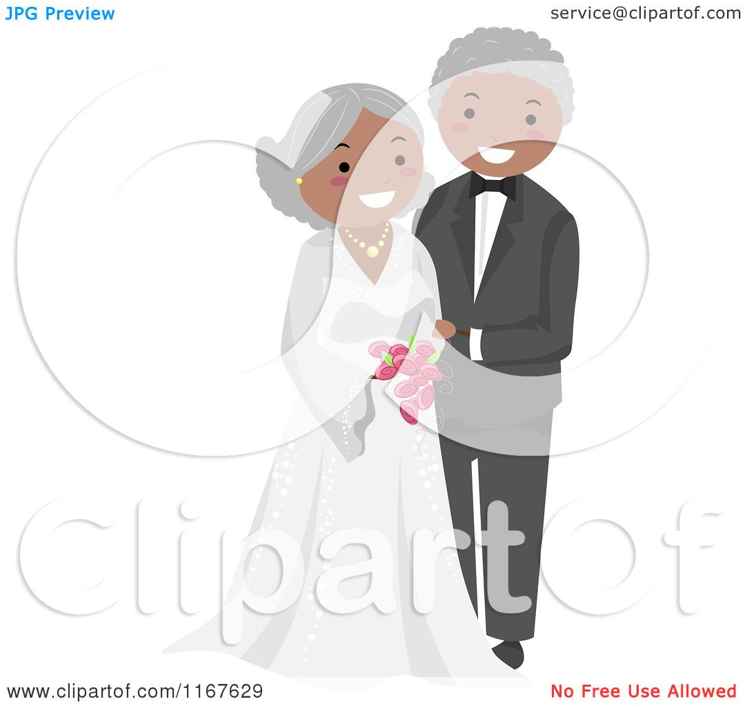 Cartoon Of A Happy Black Senior Wedding Couple Royalty Free Vector Clipart By Bnp Design Studio 1167629