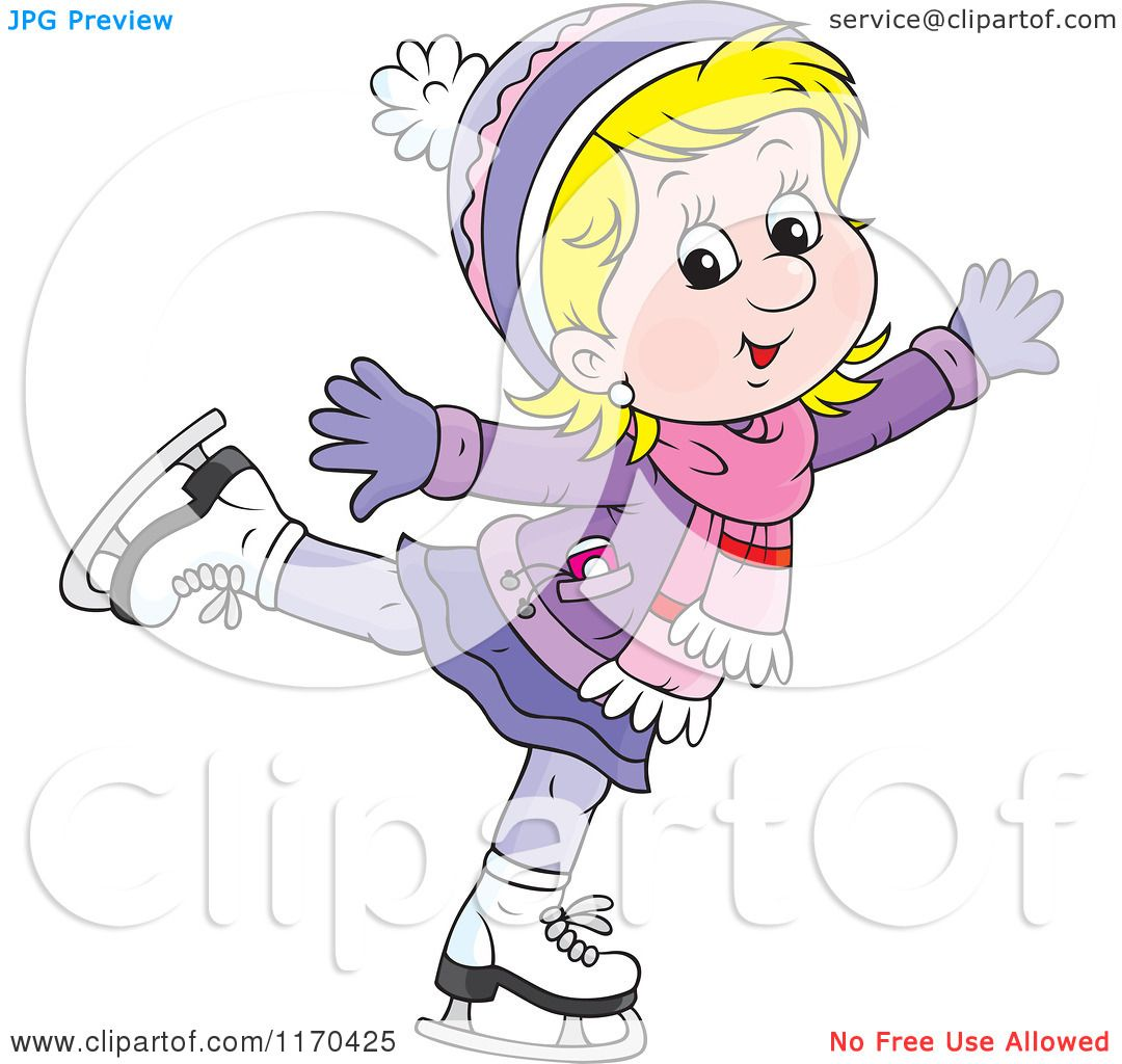 Cartoon of a Happy Blond Girl Ice Skating - Royalty Free Vector ...