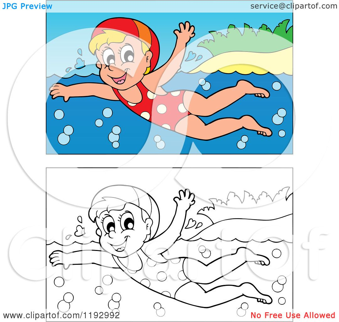 cartoon of a happy blond girl swimming near an island beach  in color and black and white
