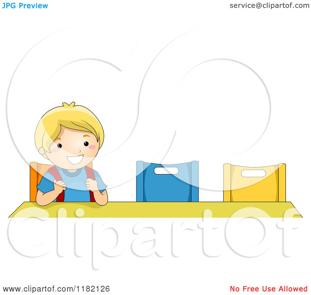 Cartoon of a happy blond school boy sitting at a desk - Cartoon girl sitting alone ...