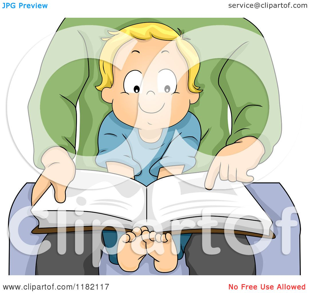 Cartoon Of A Happy Blond Toddler Boy Sitting In His Dads