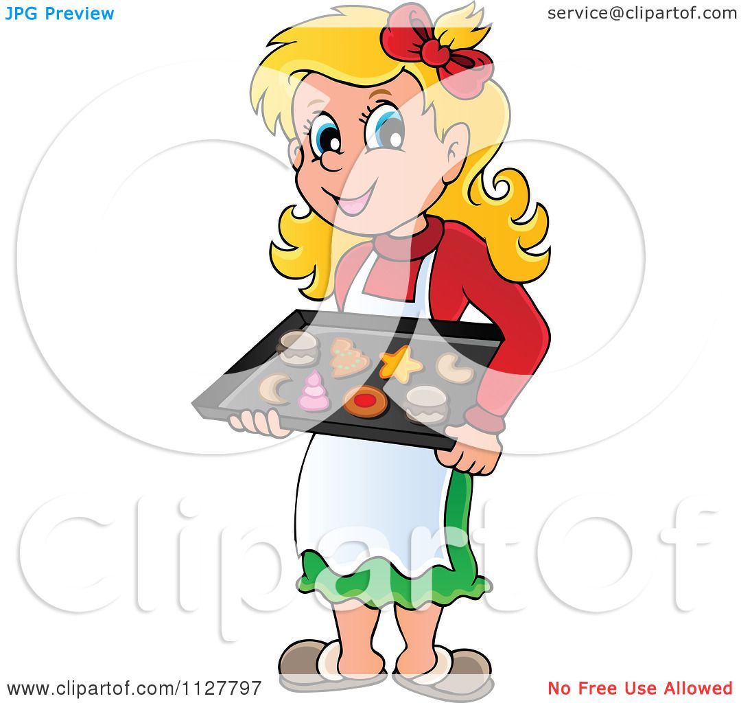 Baking Christmas Cookies Clipart.Cartoon Of A Happy Blond Woman Baking Christmas Cookies