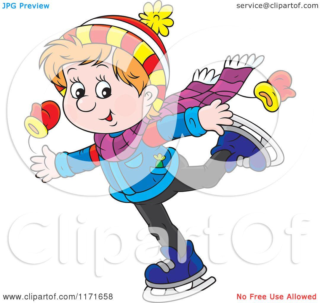 Kids Ice Skating Clipart Cartoon of a happy boy ice