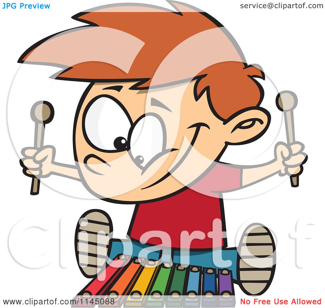 Cartoon of a Happy Boy Playing a Xylophone - Royalty Free Vector ...