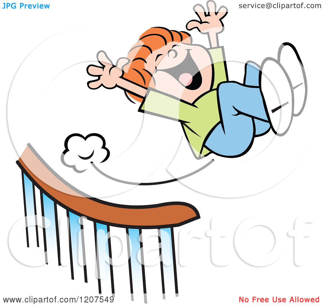 Cartoon Of A Happy Boy Sliding Down And Flying Off A
