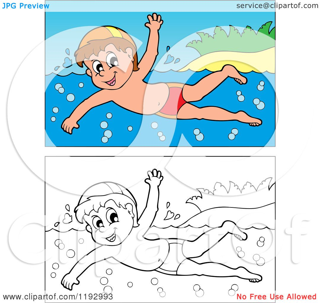 cartoon of a happy boy swimming near an island beach  in color and black and white