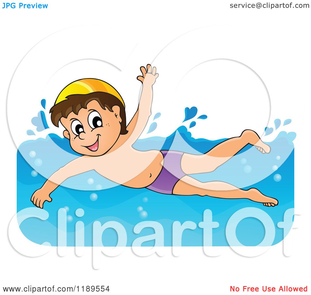 Cartoon of a Happy Boy Swimming - Royalty Free Vector Clipart by ...