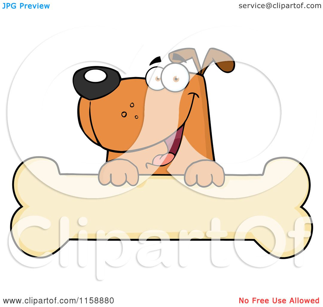 Cartoon of a Happy Brown Dog Smiling over a Bone Sign - Royalty Free