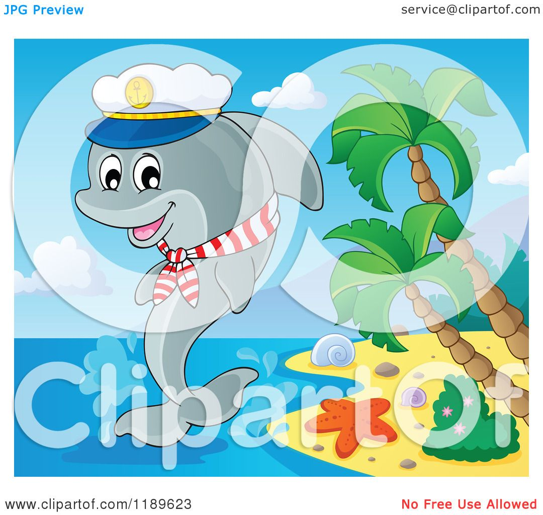 cartoon of a happy captain dolphin jumping out of water by an island beach
