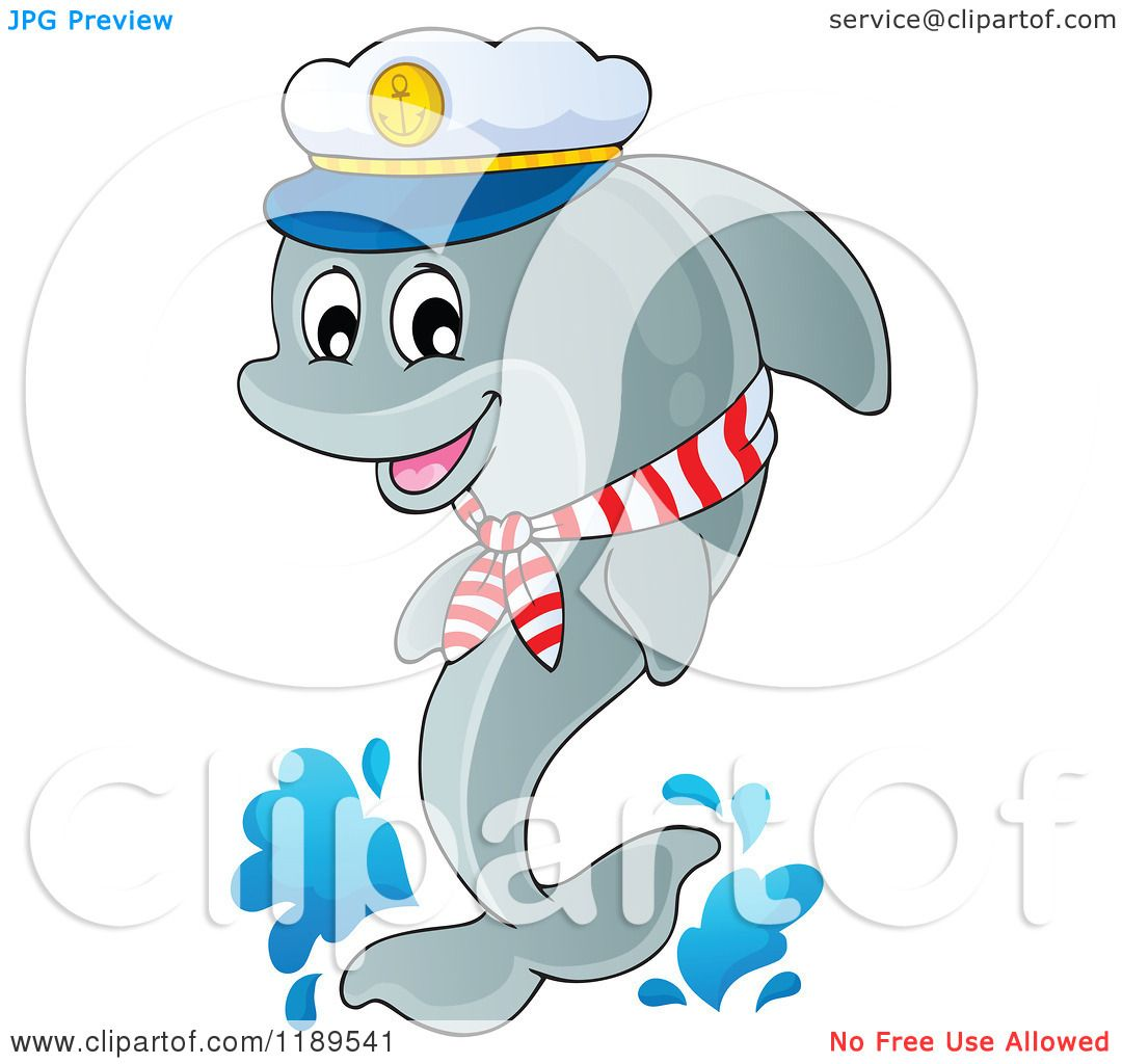 Cartoon of a Happy Captain Dolphin Jumping out of Water ...