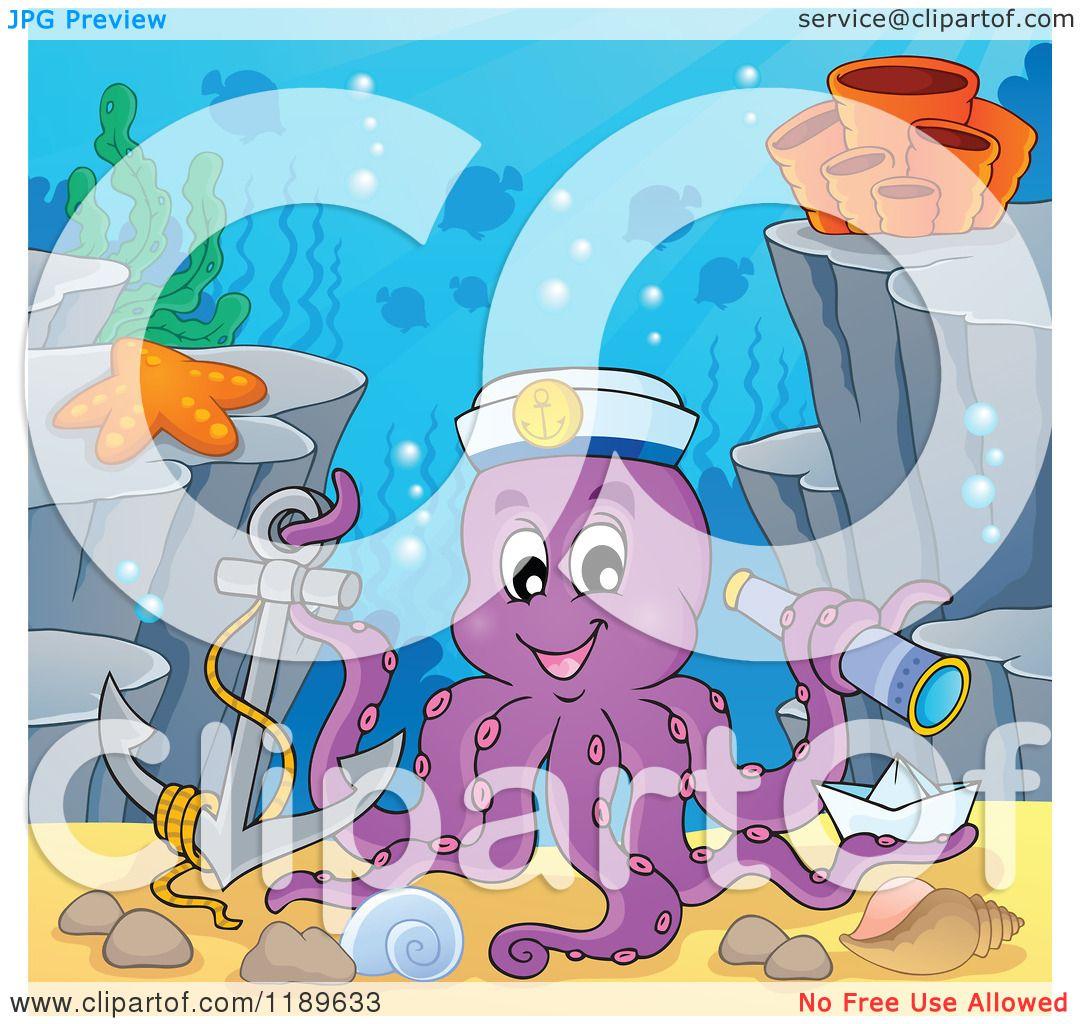 Cartoon of a Happy Captain Octopus