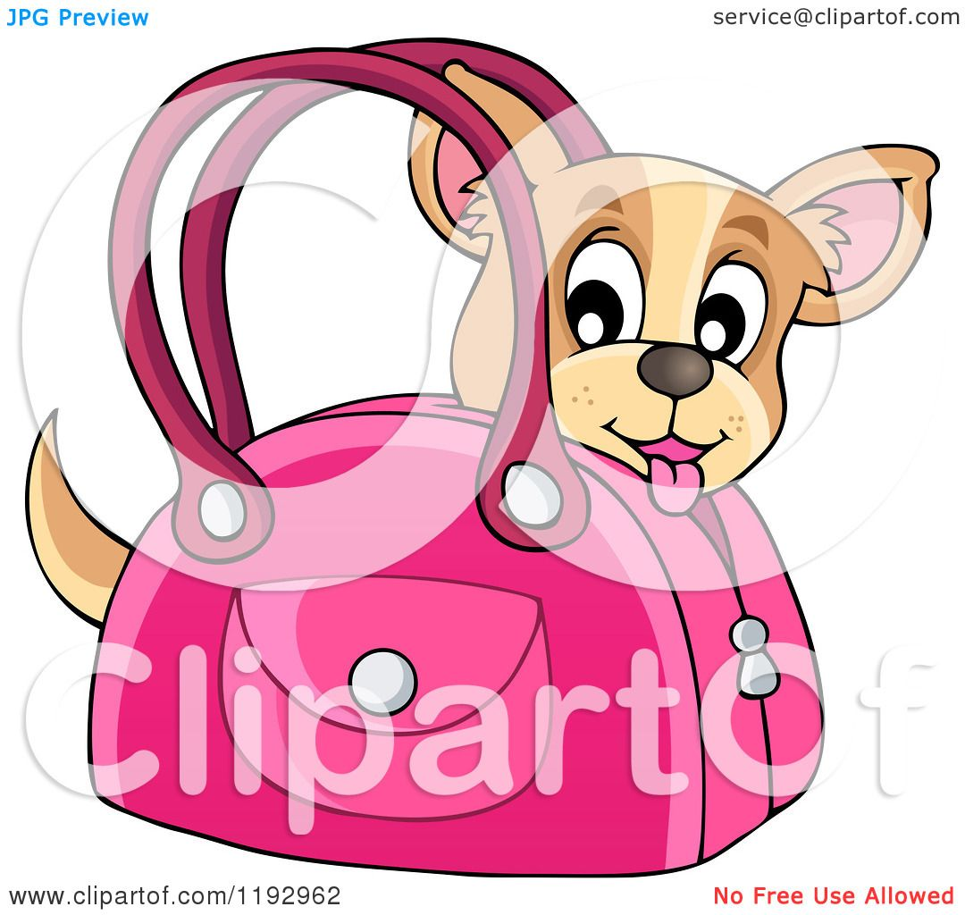 Cartoon of a Happy Chihuahua Dog in a Pink Bag - Royalty ...