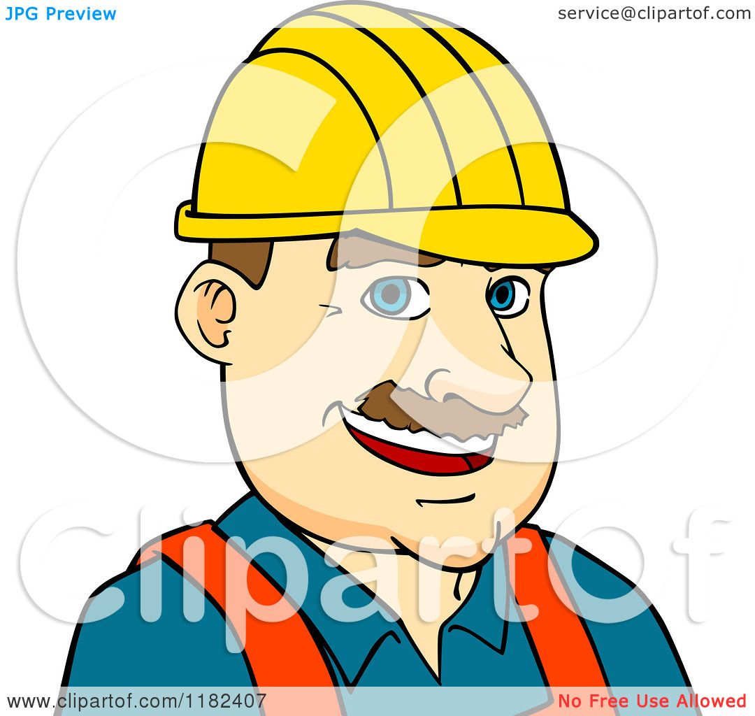 Cartoon Of A Happy Construction Worker Wearing A Hard Hat