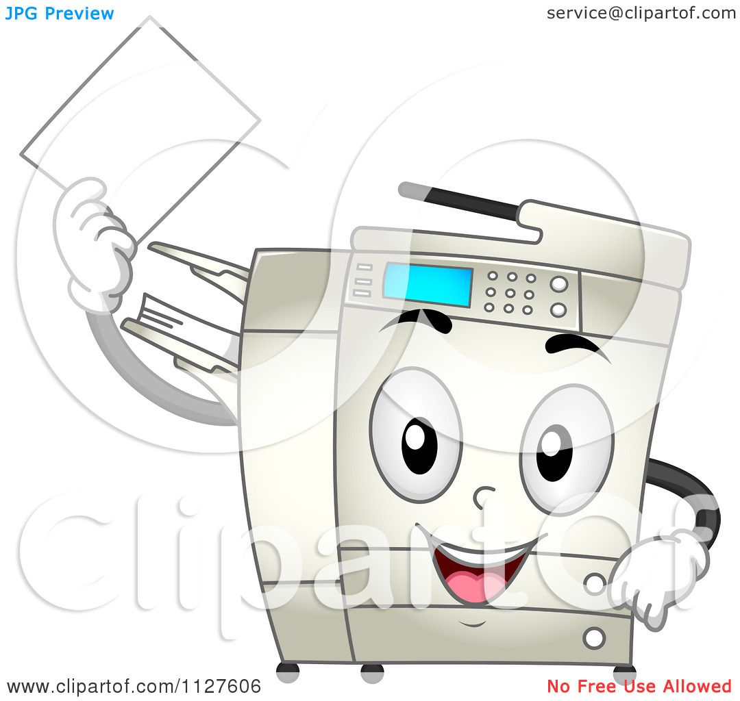 cartoon of a happy copier mascot holding a piece of paper Tattoo Machine Silhouette Tattoo Machine Logo
