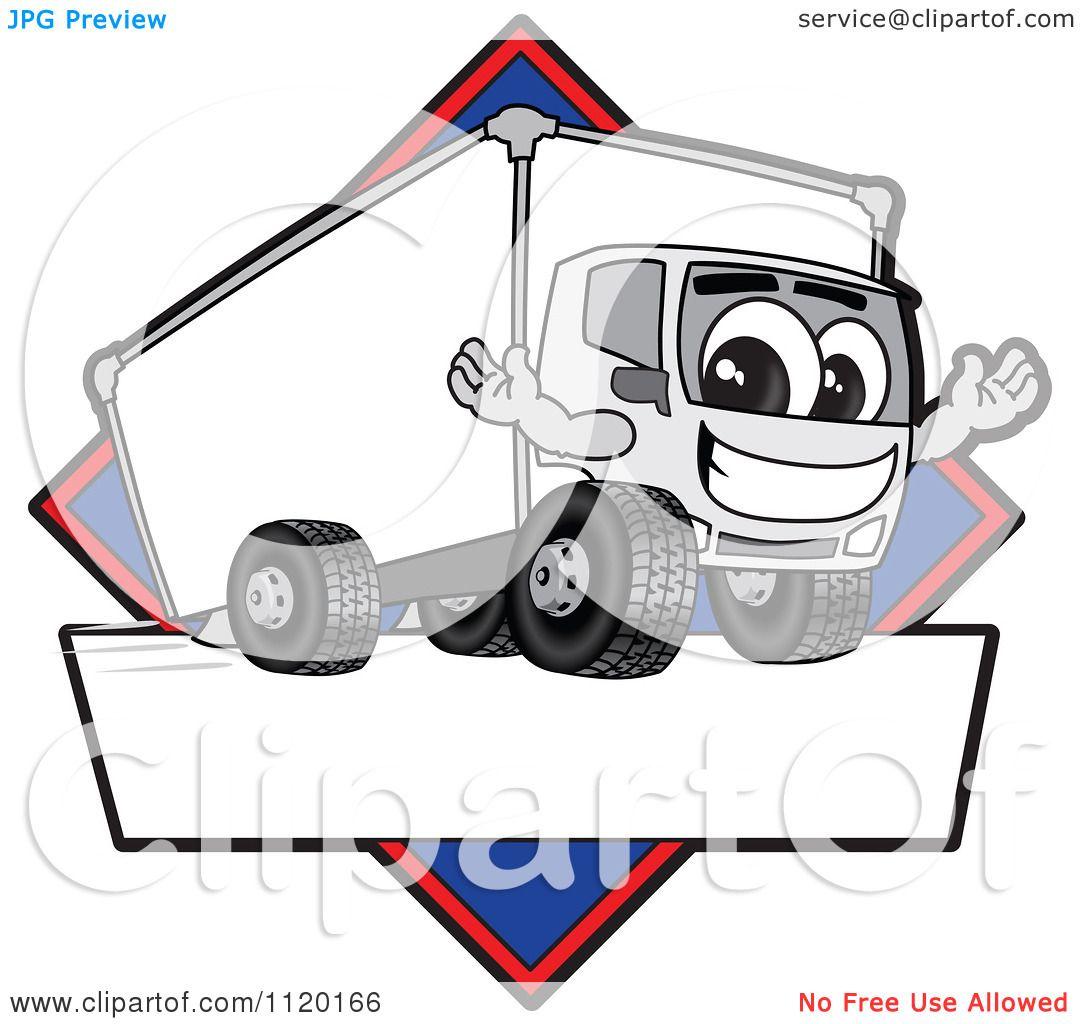 Cartoon Of A Happy Delivery Big Rig Truck Mascot Sign Or