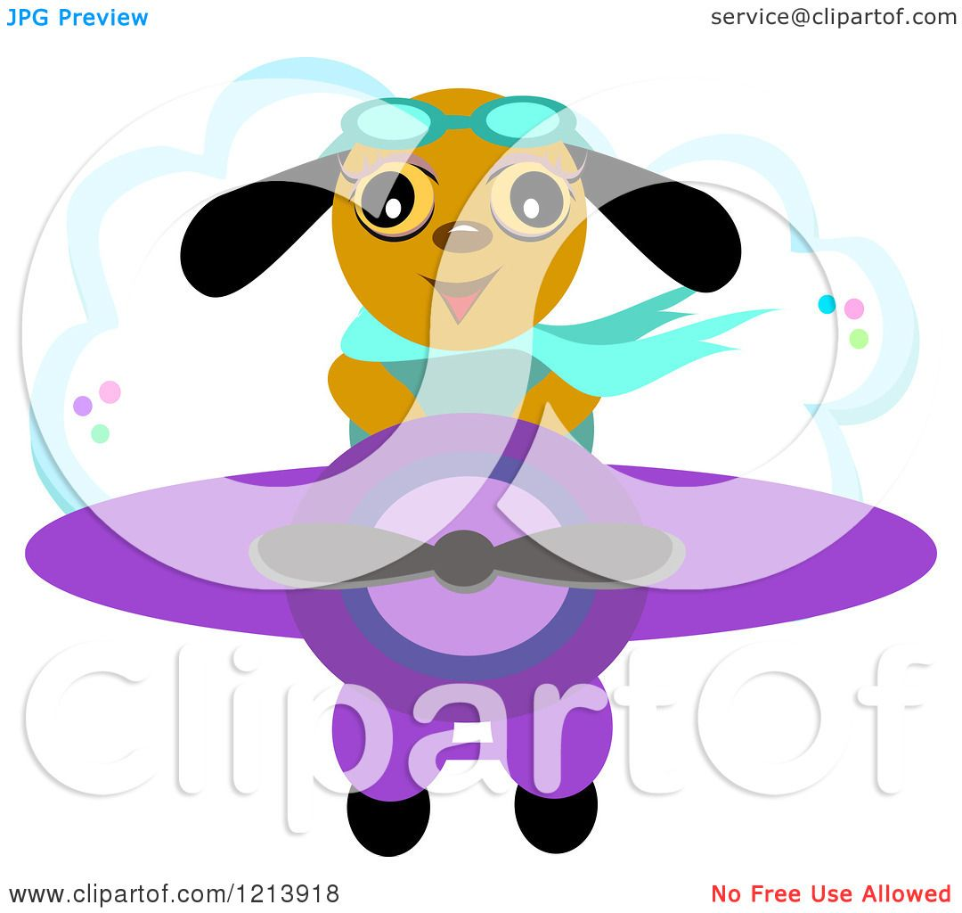cartoon of a happy dog pilot flying an airplane royalty free