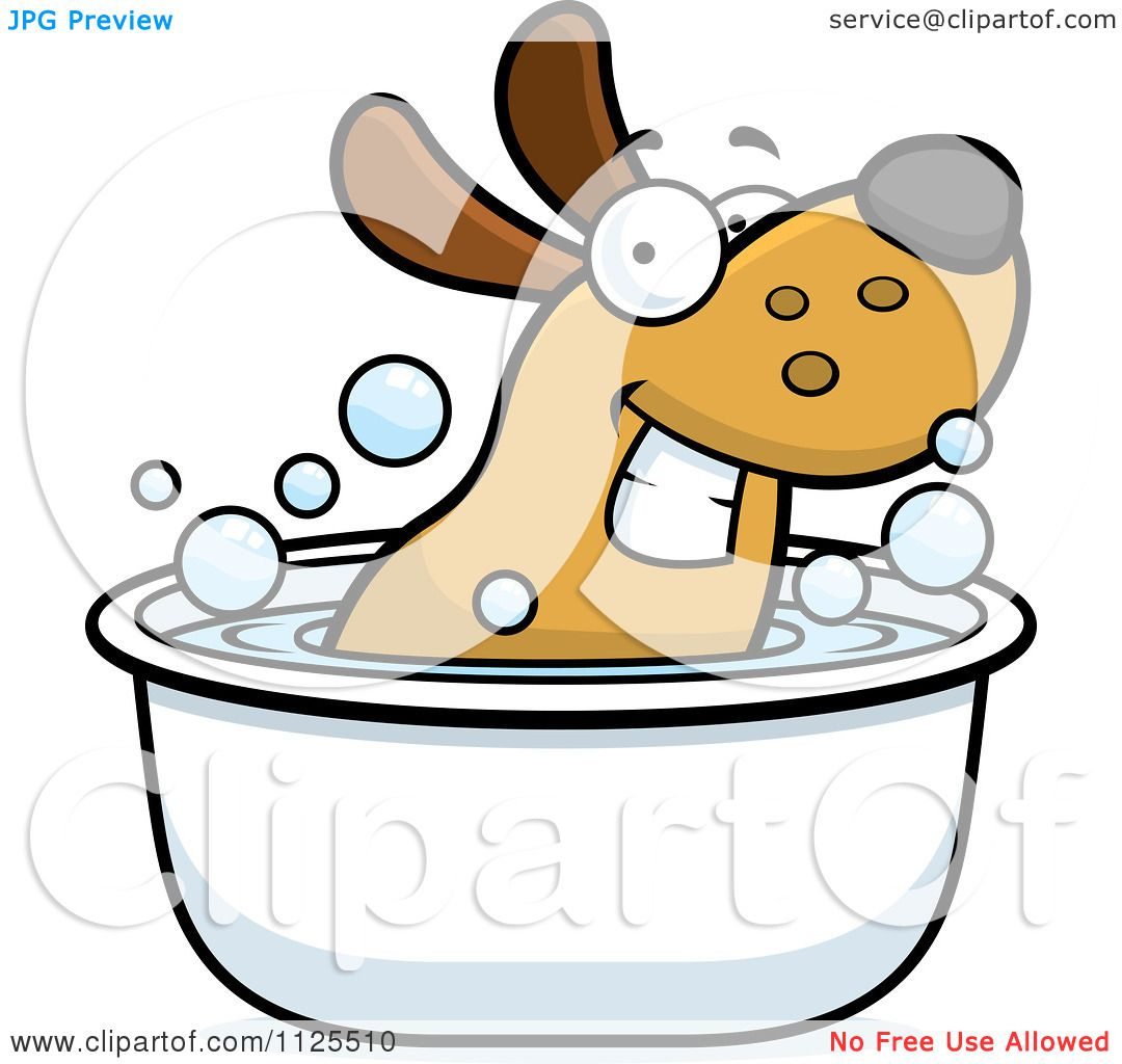 Free rf poodle clipart illustration 215241 by bnp design studio - Cartoon Of A Happy Dog Soaking In A Tub Royalty Free Vector Clipart