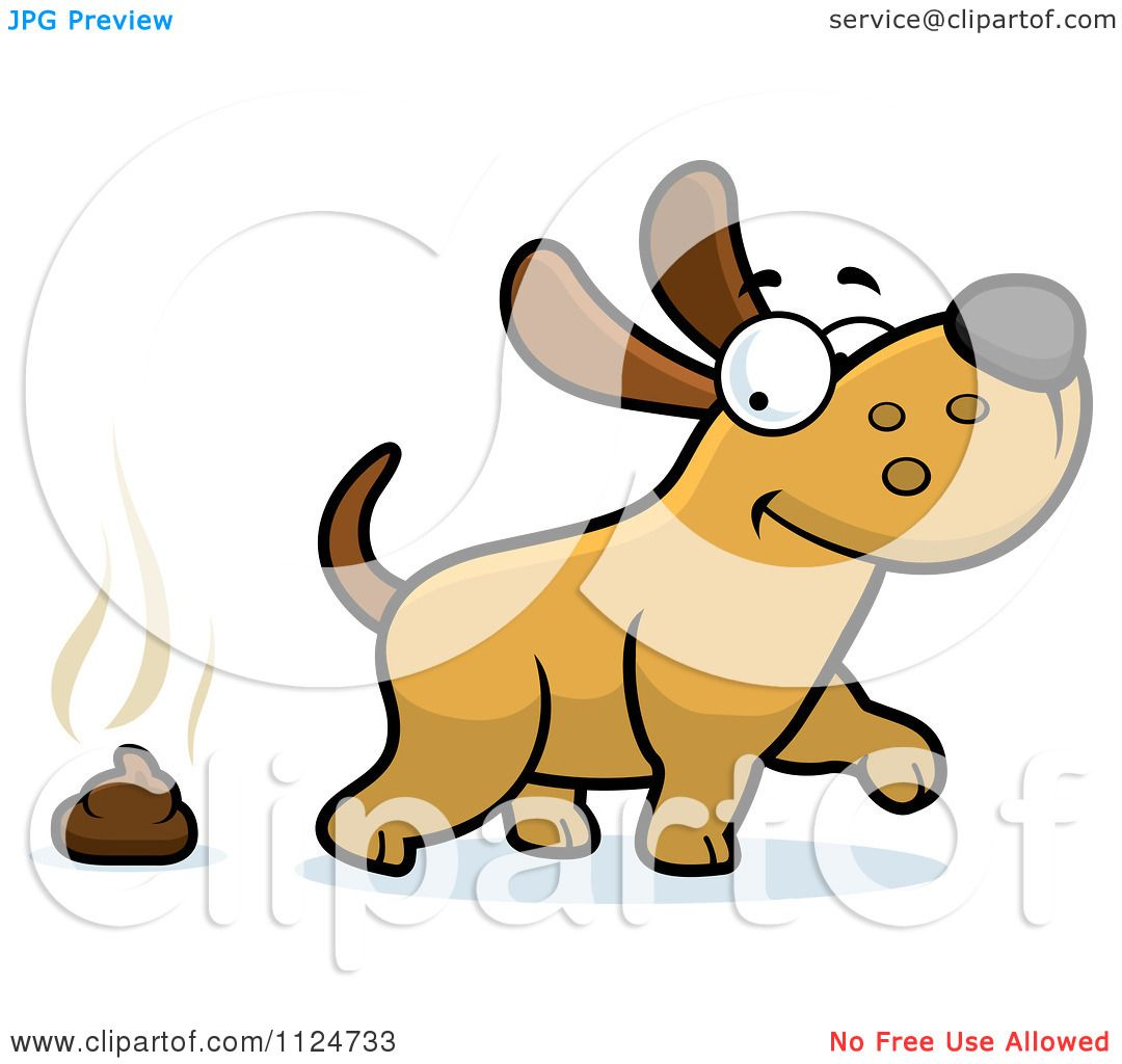 Cartoon Of A Happy Dog Walking Away From Poop - Royalty Free ...