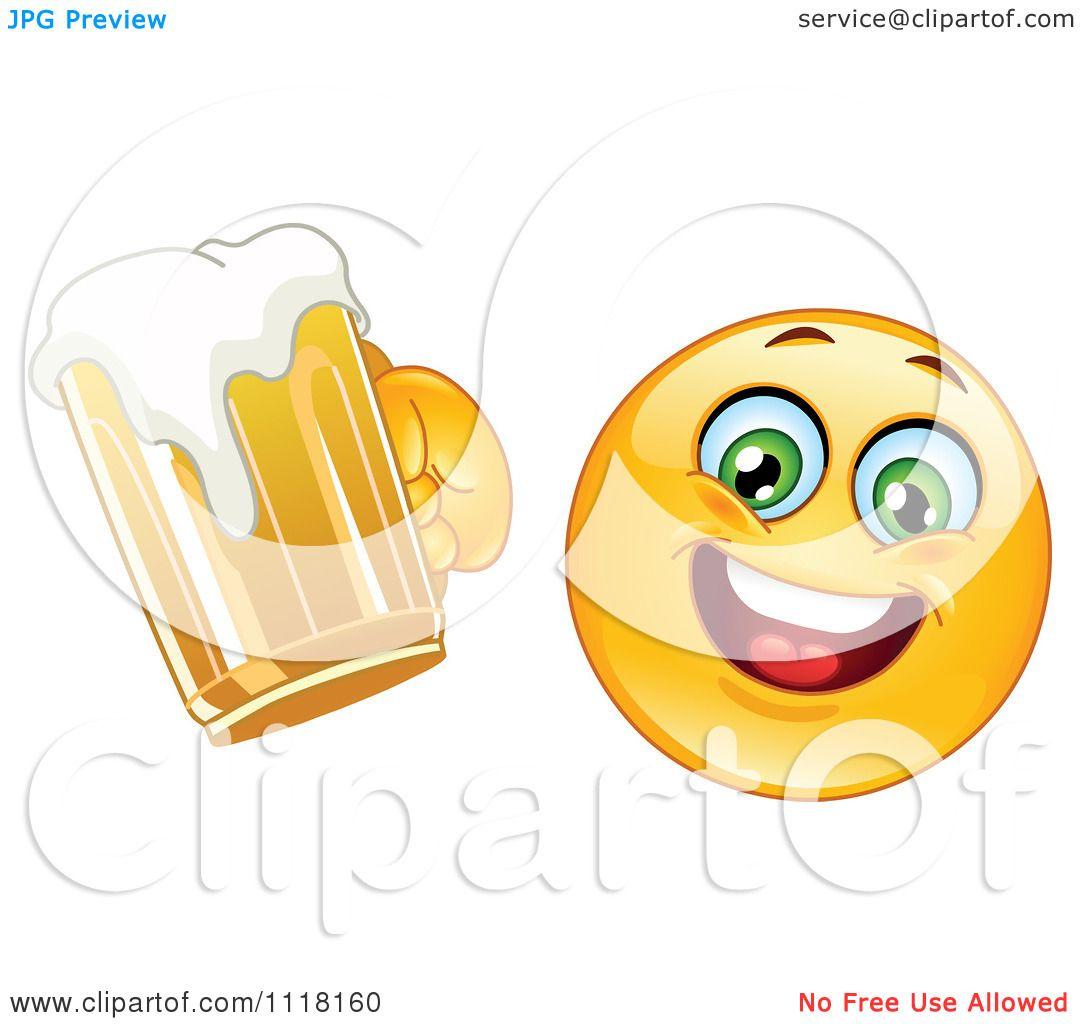 Cartoon Of A Happy Emoticon Drunk Emoticon