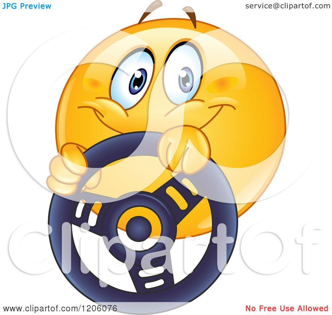 Cartoon Of A Happy Emoticon Smiley Driving With A Steering