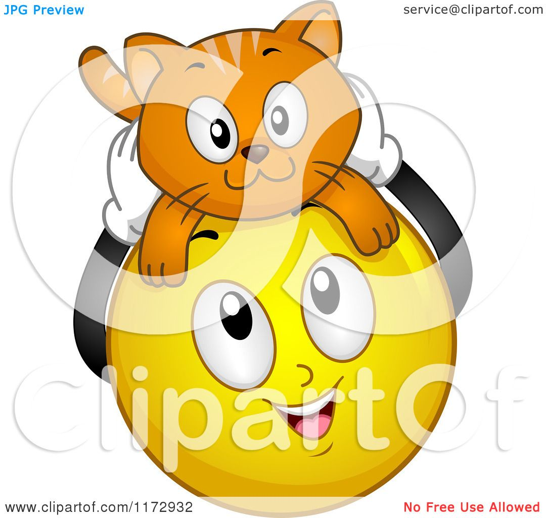 cartoon of a happy emoticon smiley with a cat on its head
