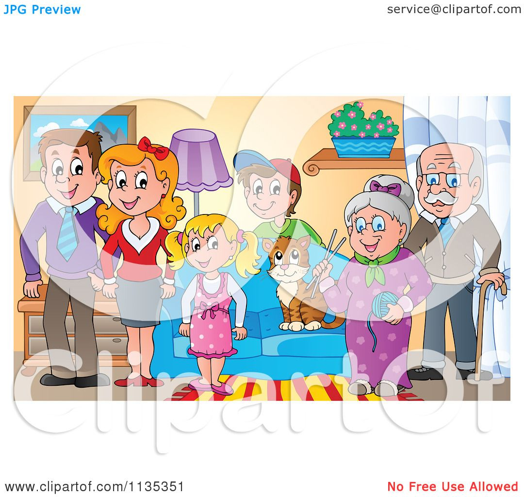 Cartoon Of A Happy Family And Cat In Living Room