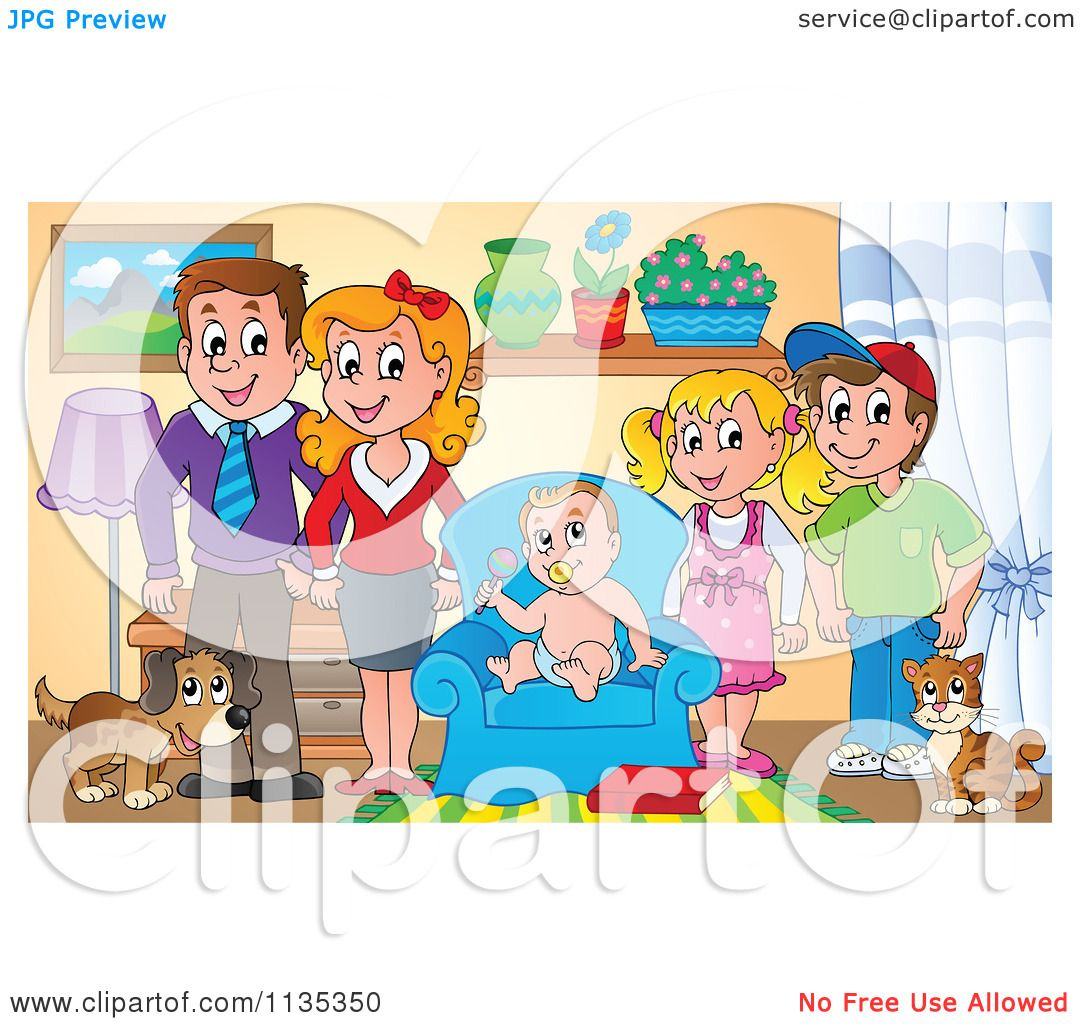 Cartoon Of A Happy Family In Living Room