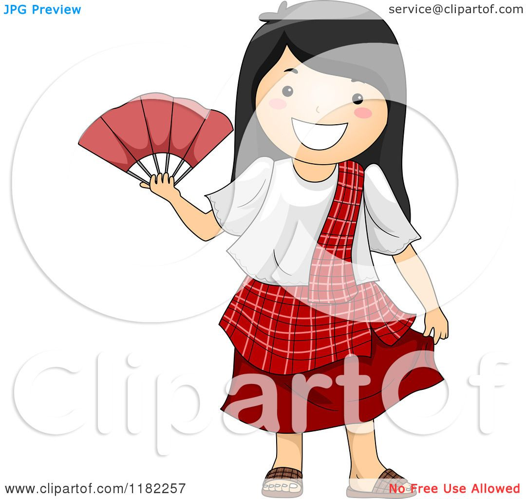 Cartoon Of A Happy Filipino Girl In A Traditional Costume