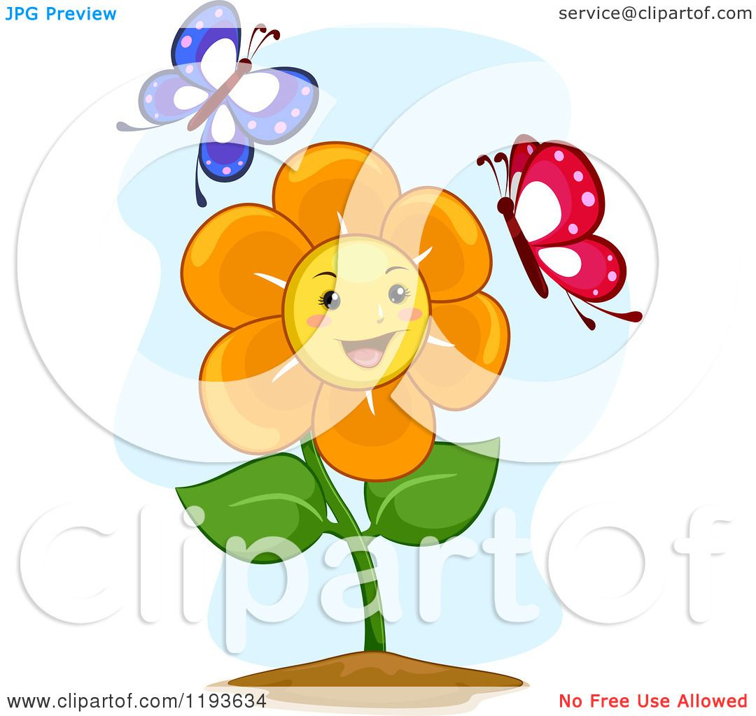 Cartoon of a Happy Flower Mascot with Two Butterflies - Royalty ...