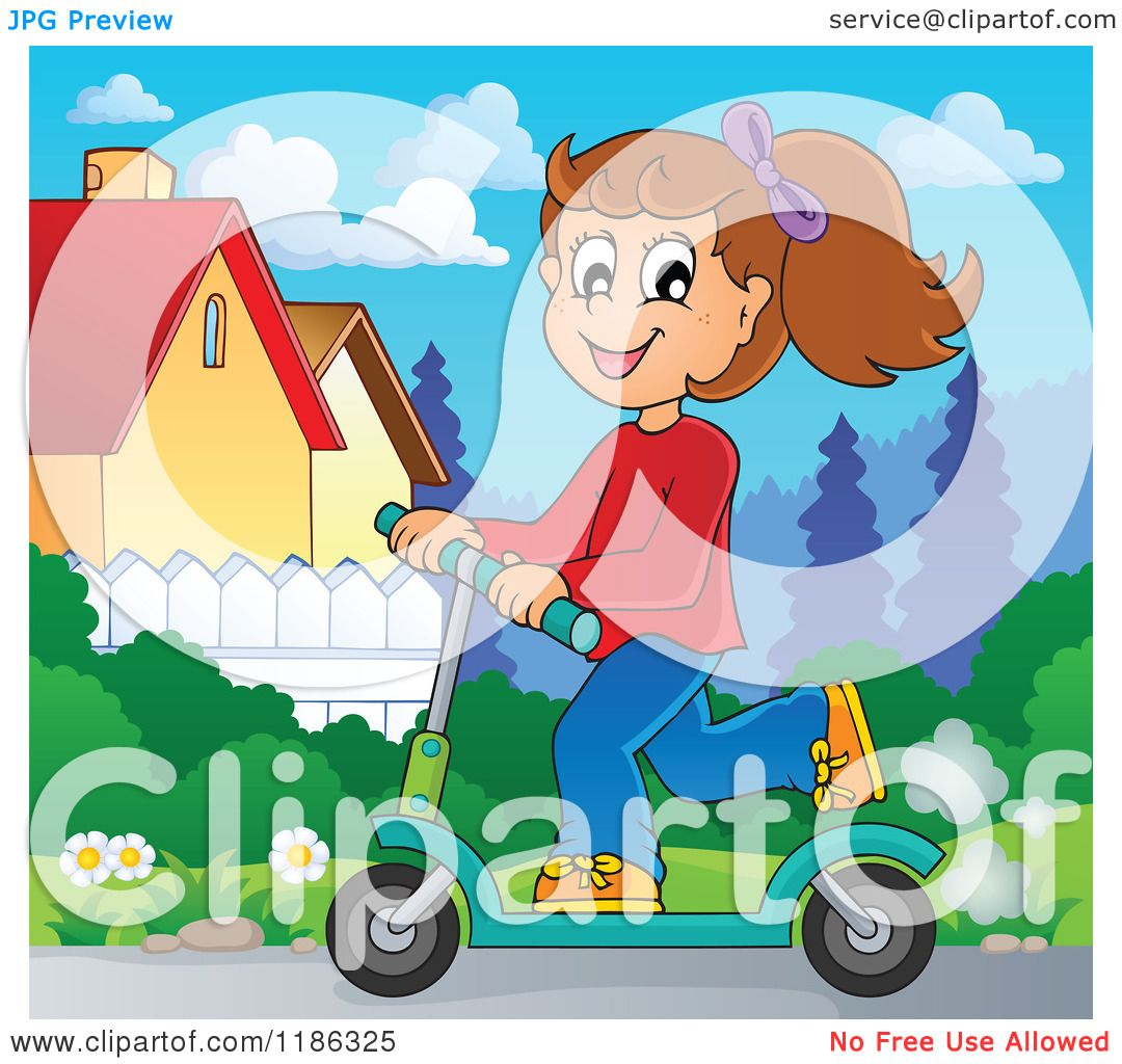 Cartoon of a happy girl riding a scooter
