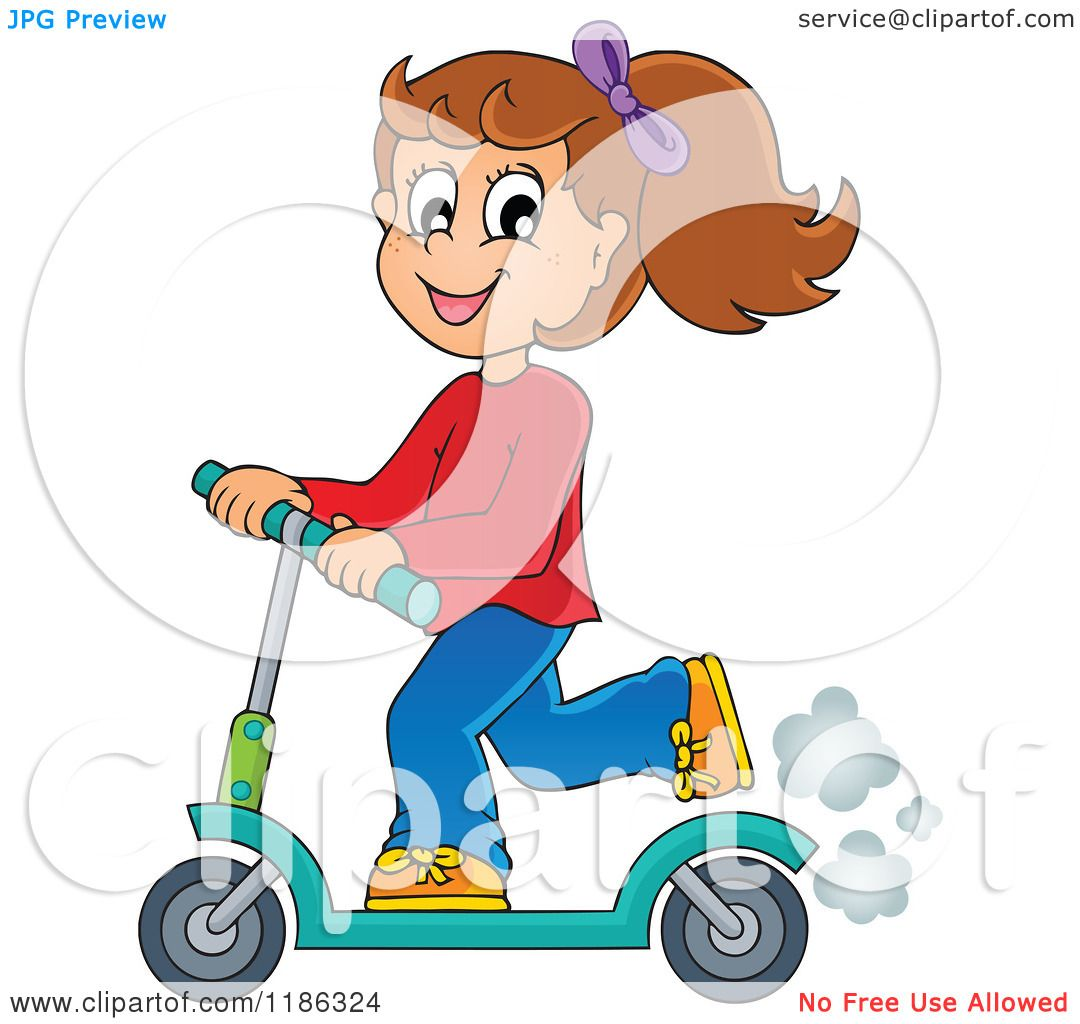 Cartoon of a Happy Girl Riding a Scooter - Royalty Free ...